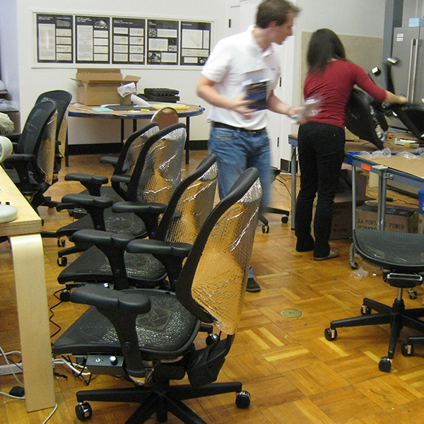 Personal comfort systems prototypes being assembled in CBE lab