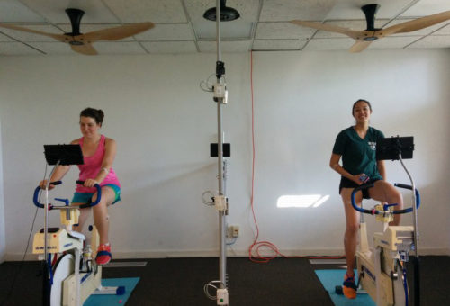 Lab study with exercise bikes and fans