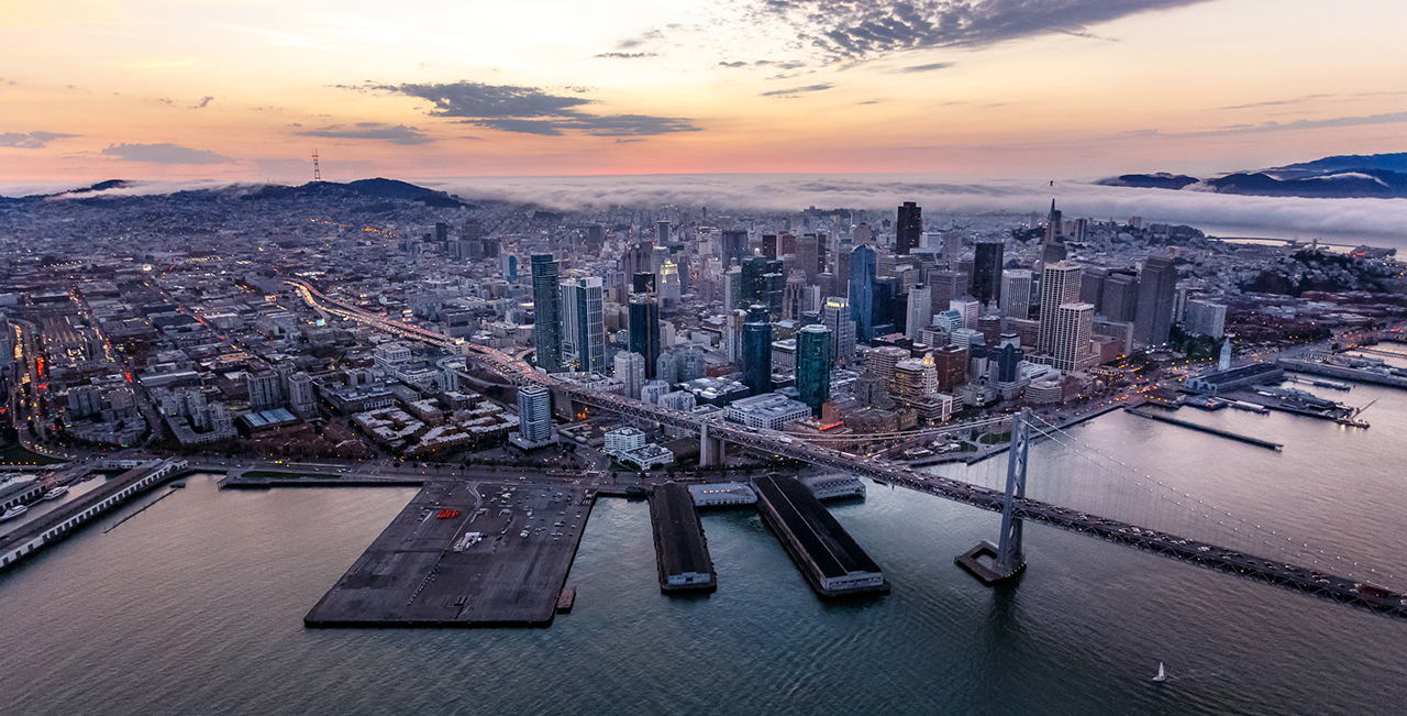 Aerial of San Francisco at sunset