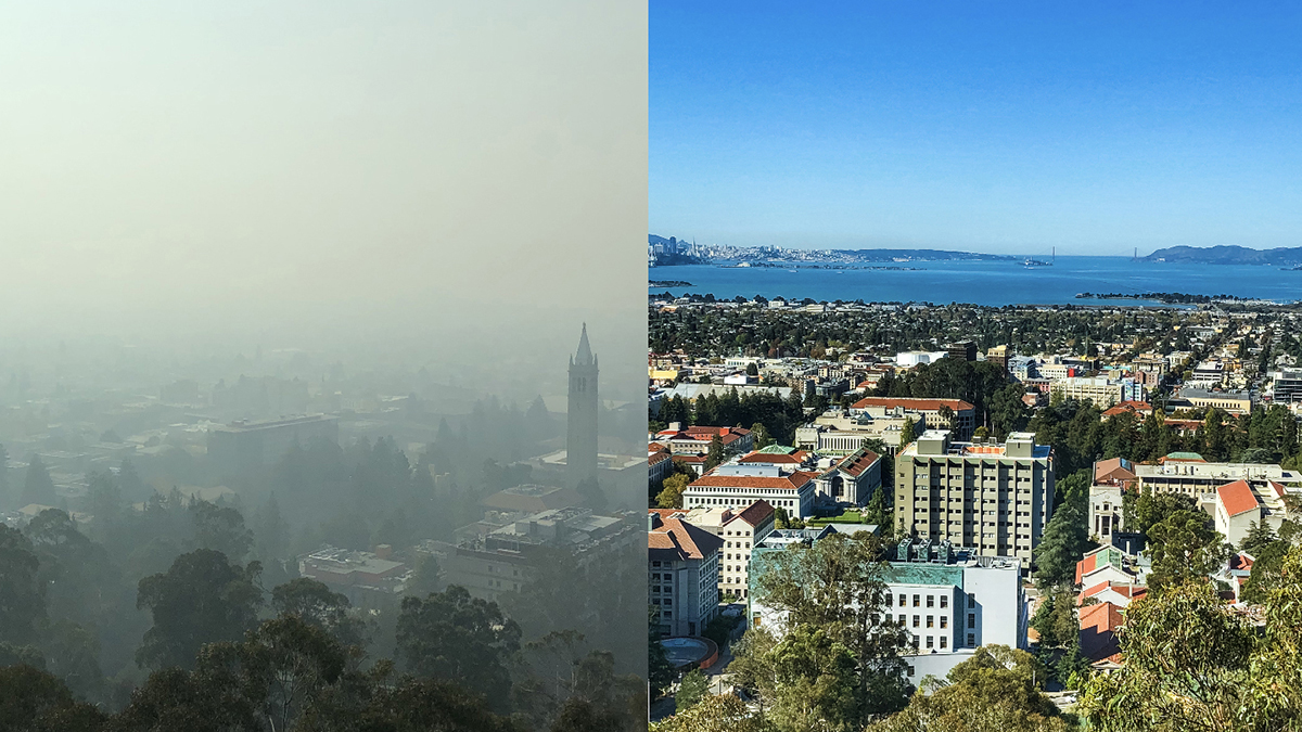 Berkeley Lab air quality image showing smoke and clean air